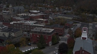 DX0002_219_040 - 5.7K stock footage aerial video of circling Asiana House and downtown buildings, Montpelier, Vermont