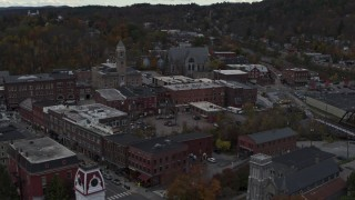 DX0002_219_043 - 5.7K stock footage aerial video of flying by city hall in downtown, Montpelier, Vermont