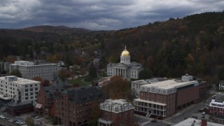 DX0002_219_050 - 5.7K stock footage aerial video of a wide orbit of the capitol building and grounds, Montpelier, Vermont