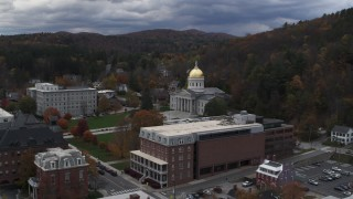 DX0002_219_053 - 5.7K stock footage aerial video of a reverse view of the capitol building and buildings around the grounds, Montpelier, Vermont