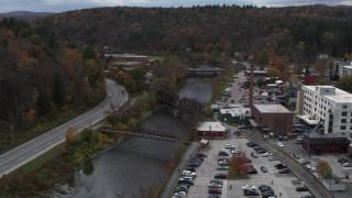 DX0002_219_055 - 5.7K stock footage aerial video orbit bridges spanning the Winooski River, Montpelier, Vermont