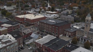 DX0002_219_057 - 5.7K stock footage aerial video orbit the Blanchard Building in Montpelier, Vermont