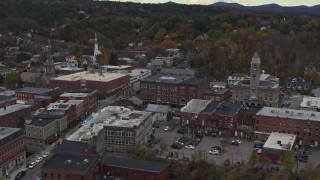 DX0002_219_058 - 5.7K stock footage aerial video of flying way from the Blanchard Building and city hall in Montpelier, Vermont