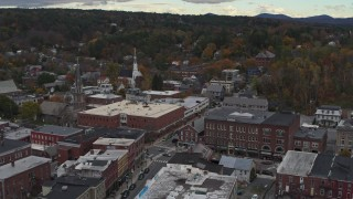 DX0002_219_059 - 5.7K stock footage aerial video of approaching the Blanchard Building and City Center in Montpelier, Vermont