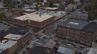 DX0002_219_060 - 5.7K stock footage aerial video of the Blanchard Building and City Center on Main Street, Montpelier, Vermont