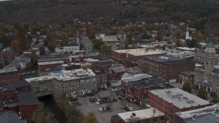 DX0002_219_061 - 5.7K stock footage aerial video of orbiting brick buildings in downtown, Montpelier, Vermont