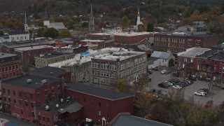 DX0002_219_064 - 5.7K stock footage aerial video of brick buildings in downtown while descending, Montpelier, Vermont