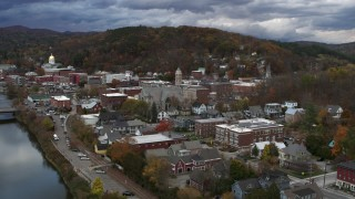 DX0002_220_003 - 5.7K stock footage aerial video approach and orbit city hall at sunset, Montpelier, Vermont