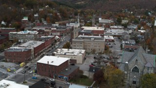 DX0002_220_004 - 5.7K stock footage aerial video a stationary view of city hall at sunset, Montpelier, Vermont