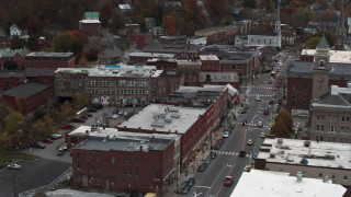 DX0002_220_031 - 5.7K stock footage aerial video of flying by Union Block buildings, Main Street, and city hall at sunset, Montpelier, Vermont