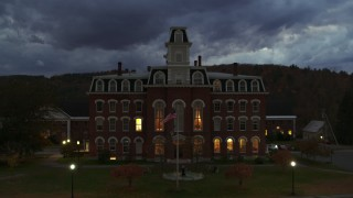 DX0002_220_048 - 5.7K stock footage aerial video focus on the Vermont College of Fine Arts while descending at twilight, Montpelier, Vermont