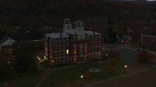 DX0002_220_050 - 5.7K stock footage aerial video fly away from the Vermont College of Fine Arts at twilight, Montpelier, Vermont