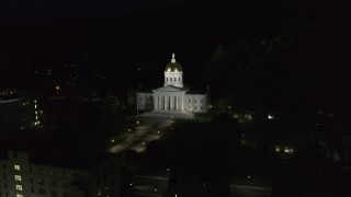 DX0002_221_002 - 5.7K stock footage aerial video of circling the Vermont State Capitol at night, Montpelier, Vermont