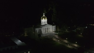 DX0002_221_003 - 5.7K stock footage aerial video of an orbit of the Vermont State Capitol at night, Montpelier, Vermont