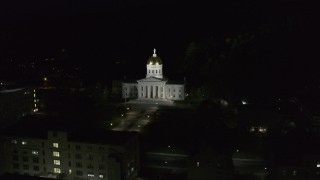 DX0002_221_005 - 5.7K stock footage aerial video of orbiting the front of the Vermont State Capitol at night, Montpelier, Vermont