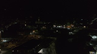DX0002_221_014 - 5.7K stock footage aerial video of city buildings in downtown at night, Montpelier, Vermont