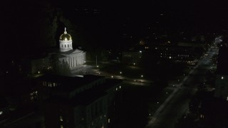 DX0002_221_016 - 5.7K stock footage aerial video of the steps leading up to the Vermont State Capitol at night, Montpelier, Vermont
