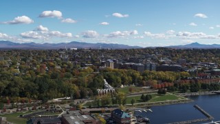 DX0002_222_004 - 5.7K stock footage aerial video of circling Waterfront Park and the downtown area in Burlington, Vermont