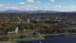 DX0002_222_009 - 5.7K stock footage aerial video of orbiting downtown, seen from Lake Champlain, Burlington, Vermont