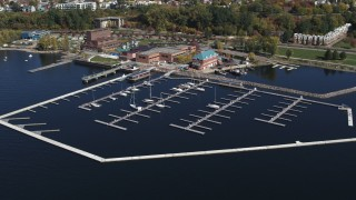 DX0002_222_015 - 5.7K stock footage aerial video of orbiting a marina on Lake Champlain, Burlington, Vermont