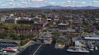 DX0002_222_016 - 5.7K stock footage aerial video of circling downtown, seen from Lake Champlain, Burlington, Vermont