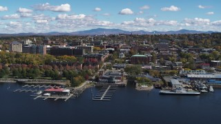 DX0002_222_017 - 5.7K stock footage aerial video of a slow orbit of downtown, seen from Lake Champlain, Burlington, Vermont