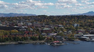 DX0002_222_036 - 5.7K stock footage aerial video slowly orbiting city buildings in downtown, Burlington, Vermont