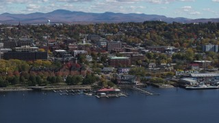 DX0002_222_037 - 5.7K stock footage aerial video of a view of city buildings in downtown, Burlington, Vermont