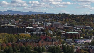DX0002_222_041 - 5.7K stock footage aerial video of orbiting buildings in downtown, Burlington, Vermont