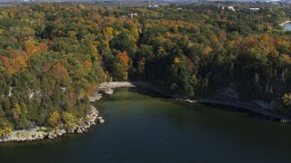 DX0002_223_004 - 5.7K stock footage aerial video of a small cove in Lake Champlain, Burlington, Vermont