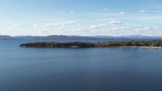 DX0002_223_012 - 5.7K stock footage aerial video of flying by a few waterfront homes on Appletree Point by Lake Champlain, Burlington, Vermont