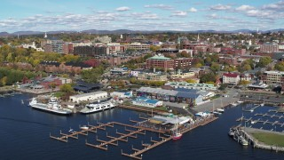 DX0002_224_001 - 5.7K stock footage aerial video of city buildings in downtown, seen from Ferry Dock Marina, Burlington, Vermont