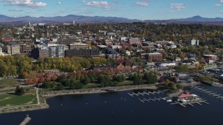 DX0002_224_005 - 5.7K stock footage aerial video orbit downtown buildings, park and marina, Burlington, Vermont