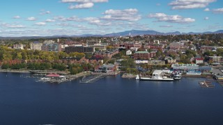 DX0002_224_006 - 5.7K stock footage aerial video of downtown buildings and marinas, Burlington, Vermont