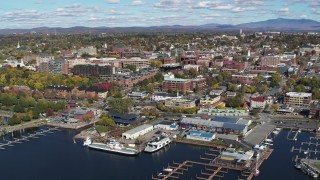 DX0002_224_020 - 5.7K stock footage aerial video of orbiting a marina and downtown, Burlington, Vermont