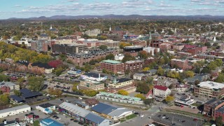 DX0002_224_021 - 5.7K stock footage aerial video of orbiting buildings in downtown, Burlington, Vermont