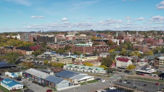 DX0002_224_022 - 5.7K stock footage aerial video of circling buildings in downtown, reveal the marina, Burlington, Vermont