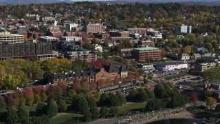 DX0002_224_036 - 5.7K stock footage aerial video approach and orbit office building in downtown, Burlington, Vermont