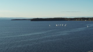 DX0002_224_056 - 5.7K stock footage aerial video of a wide orbit of a group of sailboats on Lake Champlain, Burlington, Vermont