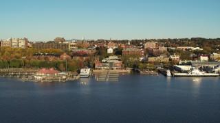 DX0002_224_061 - 5.7K stock footage aerial video of city buildings near a marina, Burlington, Vermont