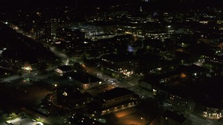 DX0002_226_056 - 5.7K stock footage aerial video of office buildings by Battery Street at night, Burlington, Vermont