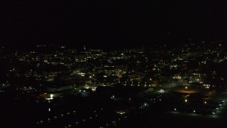 DX0002_226_058 - 5.7K stock footage aerial video fly around the downtown area at night, Burlington, Vermont