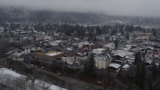 DX0002_227_003 - 5.7K stock footage aerial video of orbiting the small town of Leavenworth, Washington