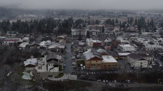 DX0002_227_005 - 5.7K stock footage aerial video of passing by the small town of Leavenworth, Washington