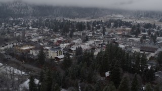 DX0002_227_012 - 5.7K stock footage aerial video ascend for wider view of the town, Leavenworth, Washington