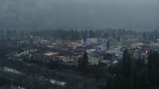 DX0002_227_028 - 5.7K stock footage aerial video of orbiting Christmas trees in Leavenworth, Washington