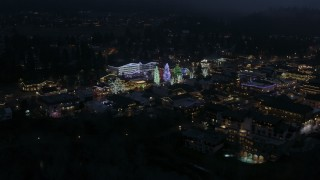 DX0002_228_016 - 5.7K stock footage aerial video slowly circling Christmas trees and lights at night in Leavenworth, Washington