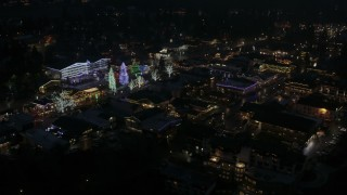 DX0002_228_025 - 5.7K stock footage aerial video orbiting trees and buildings with Christmas lights at night, Leavenworth, Washington