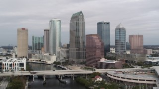 DX0003_229_001 - 5.7K stock footage aerial video of tall skyscrapers in Downtown Tampa, Florida