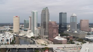 DX0003_229_007 - 5.7K stock footage aerial video of an orbit of skyscrapers, Downtown Tampa, Florida